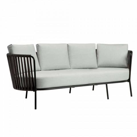 Canapé d'extérieur 3 places en métal, corde et tissu Made in Italy - Mari
