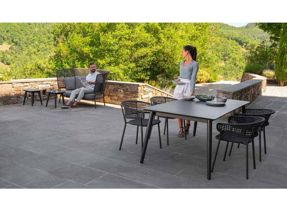 Canapé d'extérieur 2 places en tissu et aluminium - Moon Alu par Talenti