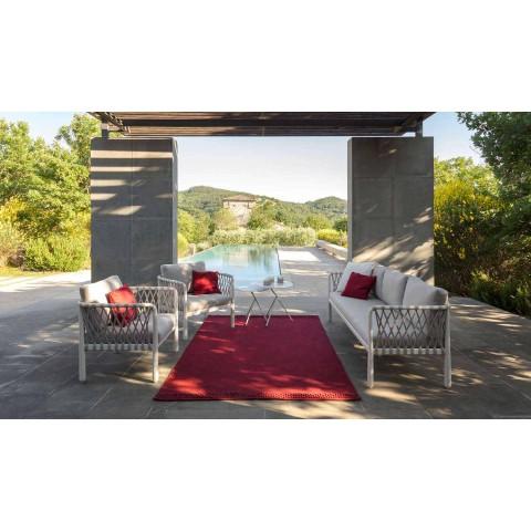 Canapé de jardin moderne 3 places en aluminium et tissu - Sofy par Talenti