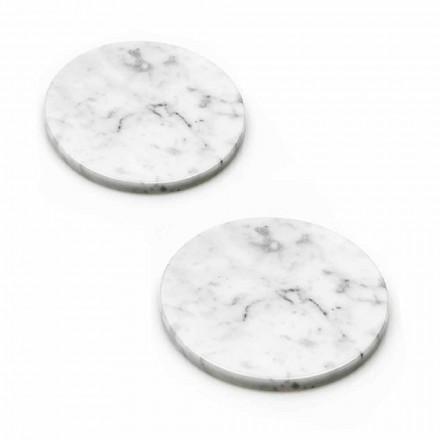 Deux dessous de verre en marbre blanc et gris avec du liège fabriqué en Italie - Jessa