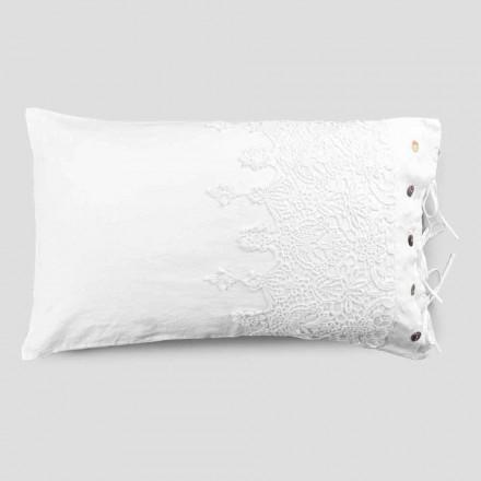 Taie d'oreiller en lin blanc avec dentelle gouttes, boutons et lacets pour oreiller - Malone