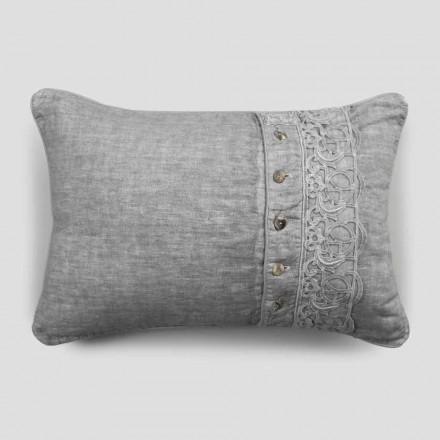 Taie d'oreiller Coussins de lit en lin gris avec dentelle italienne de luxe Synergy - Stego