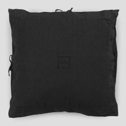 Taie d'oreiller carrée en lin noir épais et lacets Made in Italy - Matero