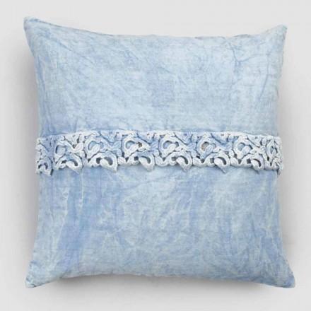 Taie d'oreiller en lin blanc avec dentelle design carrée de luxe fabriquée en Italie - Kiss