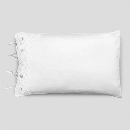 Taie d'oreiller en lin avec dentelle blanche, design de luxe Made in Italy - Kiss