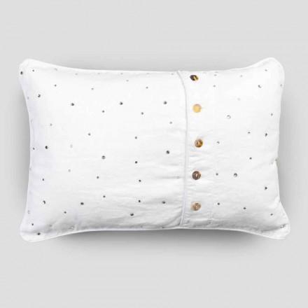 Taie d'oreiller en lin blanc avec cristaux décoratifs rectangulaires - Cenerella
