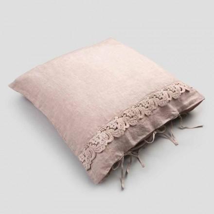 Taie d'oreiller en lin avec dentelle Armonia et boutons Agoya en poudre ou dos - Masone