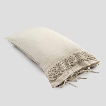 Taie d'oreiller en lin avec dentelle Poema et lacets beurre ou noir Made in Italy - Masone