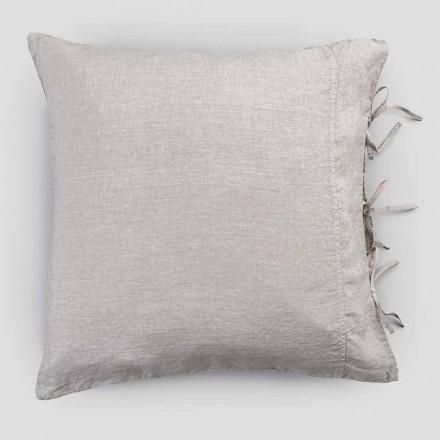 Taie d'oreiller légère en lin craie ou dos avec lacets carrés - Prisco