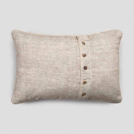 Taie d'oreiller en lin épais avec décoration Agoya et boutons de passepoil - Méditerranée
