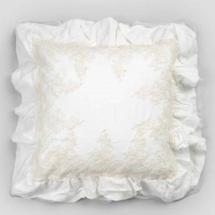 Taie d'oreiller carrée en lin blanc avec dentelle décorative sur les bords et les volants - Priscilla