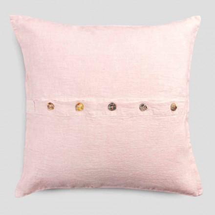 Taie d'oreiller carrée en lin coloré avec boutons Agoya en nacre - Méditerranée