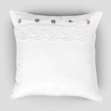 Taie d'oreiller carrée en lin avec synergie de dentelle de décoration et de boutons - Assiolo