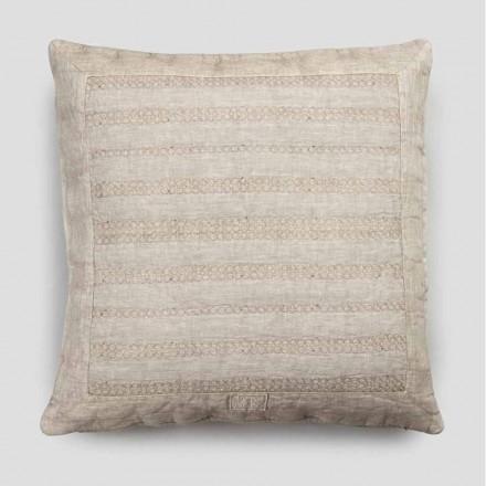 Taie d'oreiller carrée en lin craie ou décor de dos avec broderie sphères et cadre - coude