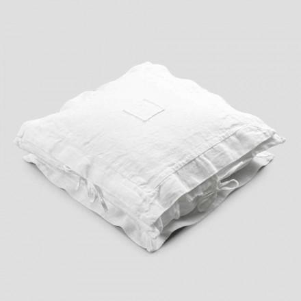 Taie d'oreiller carrée en lin blanc épais et lacets Made in Italy - Matero