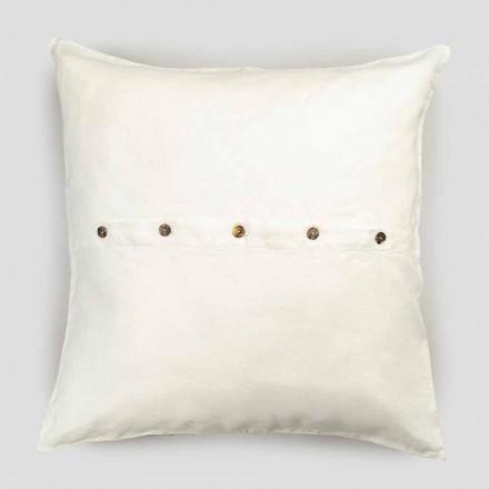 Taie d'oreiller carrée en lin épais avec boutons en Agoya - Méditerranée