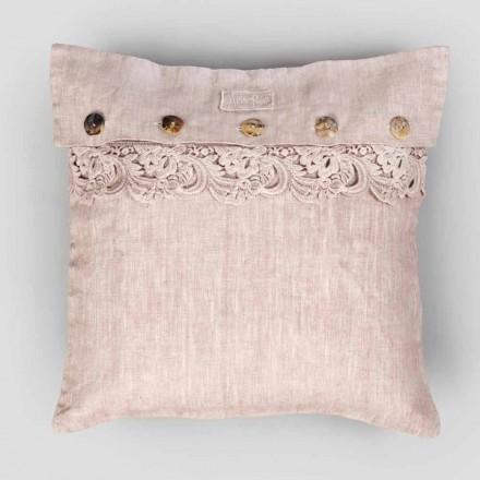 Taie d'oreiller carrée en lin poussiéreux ou dos avec boutons et dentelle Armonia - Logos