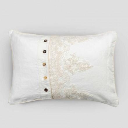 Taie d'oreiller rectangulaire avec dentelle élégante en lin blanc design pour lit - Gioiano