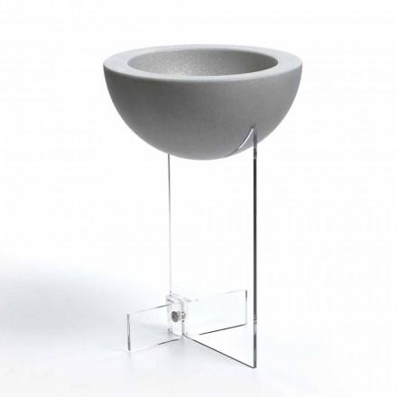 Cache-pot polyéthylène et méthacrylate transparent D40 H61 cm, Willy