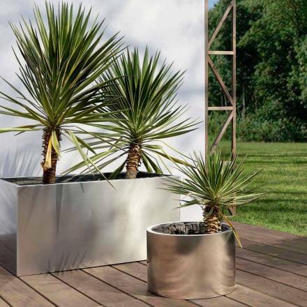 Jardinière de jardin design ronde ou rectangulaire en acier Made in Italy - Philly