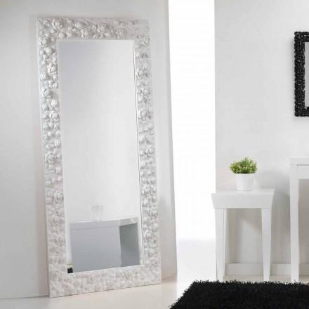 Gran miroir blanc de sol/mural avec cadre en bois Flower