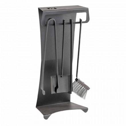 Ensemble de 4 outils de cheminée en acier design Made in Italy - Chandler