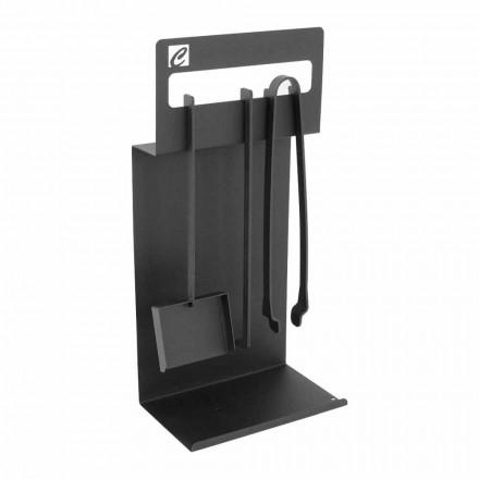 Ensemble d'outils pour la cheminée en acier noir fabriqué en Italie - Ostro