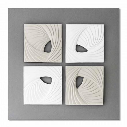 Installation murale décorative de conception moderne blanche et grise - Bossy