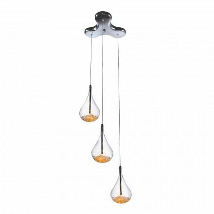 Lampe à suspension à 3 ou 4 lumières en verre borosilicaté et métal - Poires
