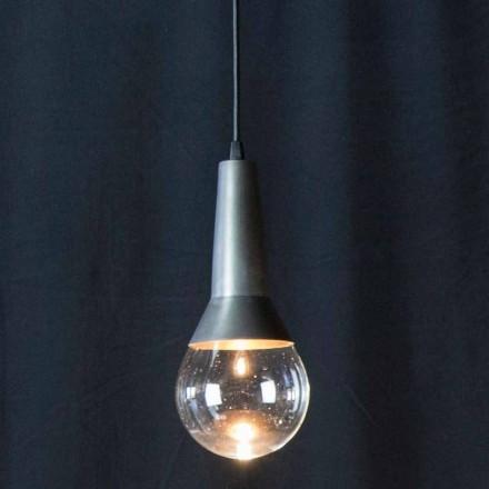 Lampe à suspension artisanale en fer noir et verre Made in Italy - Suspension
