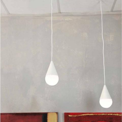 suspension blanche 2 ampoules de design moderne drop