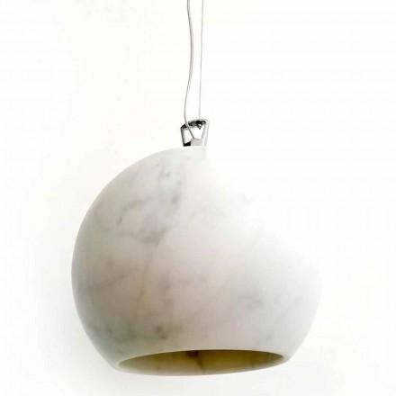 Lampe à Suspension Design en Marbre de Carrare Blanc Fabriqué en Italie - Panda