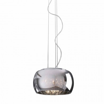Lampe à Suspension Design Moderne en Verre et Métal Chromé - Cambria