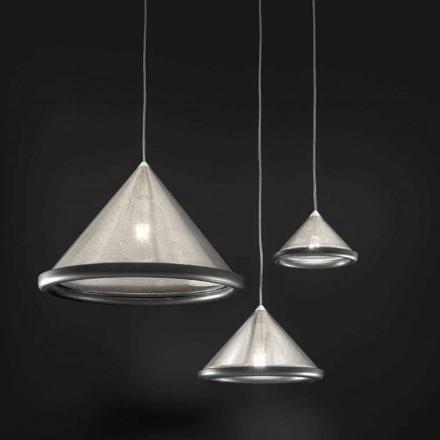 Lampe à Suspension en Acier Inox et Céramique – Tamiso Aldo Bernardi