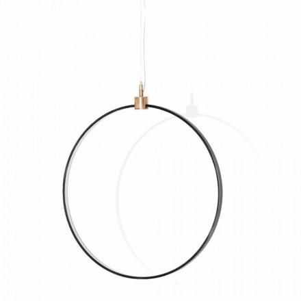 Lampe à Suspension en Aluminium Noir et Laiton Naturel Made in Italy - Norma