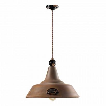 Lampe suspendue en fer vieilli cortene céramique Lois Ferroluce