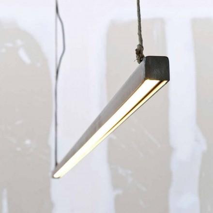 Lampe à suspension en fer et corde avec LED intégrée Made in Italy - Stecca