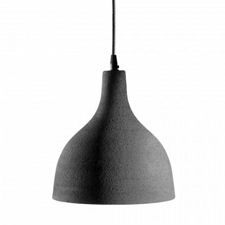 Lampe à Suspension en Grès Anthracite et Design Intérieur Émail Blanc - Edmondo