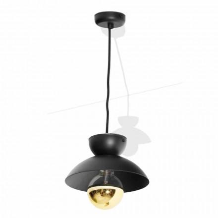 Lampe à Suspension en Métal avec Détail Or Moderne Fabriqué en Italie - Valta