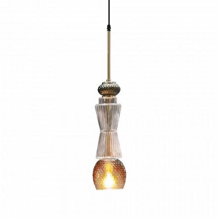 Lampe à Suspension en Verre de Murano avec Décoration Antique Made in Italy - Missi