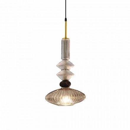 Lampe à Suspension en Verre de Murano et Tissu, Made in Italy - Missi