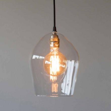 Lampe à Suspension en Verre et Fer avec Câble en Coton Fabriqué en Italie - Bisma