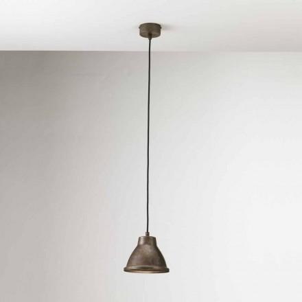 Lampe industrielle suspendue en fer et laiton Loft Mini Il Fanale