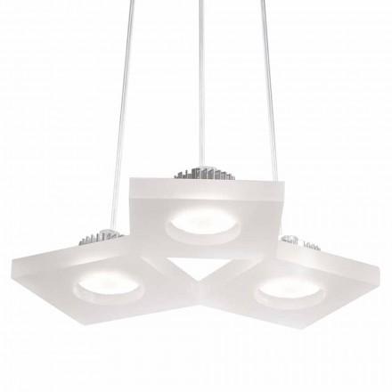 Lampe à suspension méthacrylate blanc satiné, L.27xP.23cm, Nella