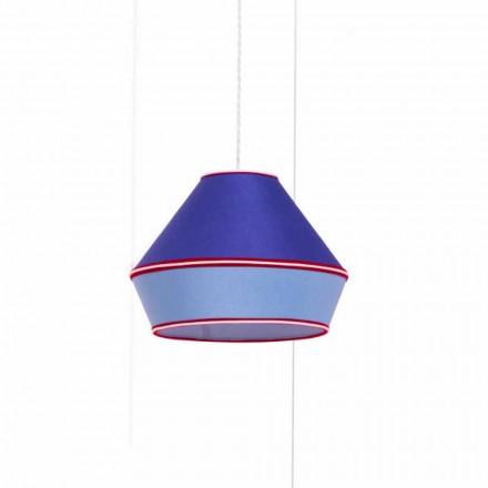 Lampe à suspension moderne avec abat-jour en coton bleu Made in Italy - Soya