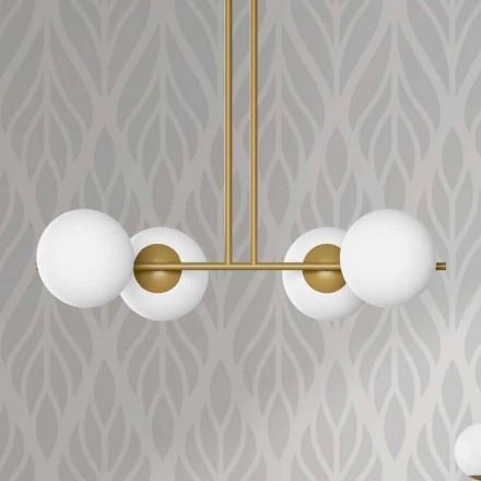 Lampe à Suspension Moderne en Métal et Verre Blanc Made in Italy - Carima