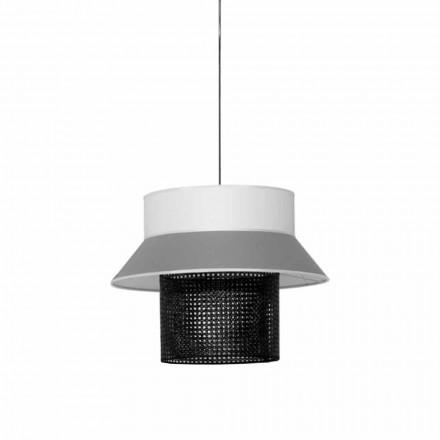 Lampe à Suspension Moderne en Tissu et Rotin Made in Italy - Sailor