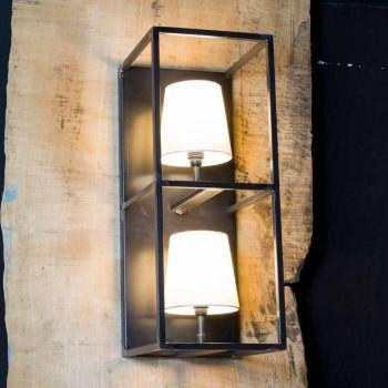 Applique Artisan en Fer Noir avec 2 Abat-jours Made in Italy - Tour