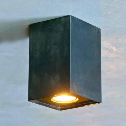 Lampe cubique en fer noir avec soudures givrées fabriquée en Italie - Cubino