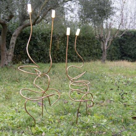 Lampe d'extérieur en cuivre naturel avec verre décoratif Made in Italy - Fusillo